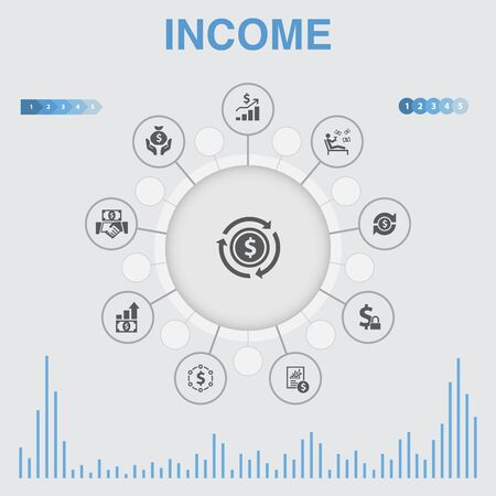 Income infographic with icons. Contains such icons as save money, profit, investment, profitability