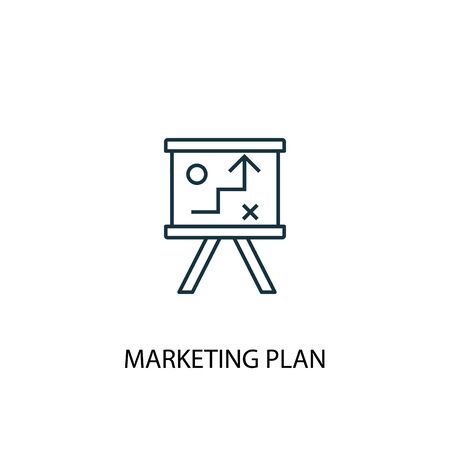 marketing plan concept line icon. Simple element illustration. marketing plan concept outline symbol design. Can be used for web and mobile UI Banco de Imagens - 129751093