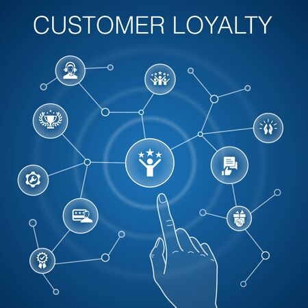 Customer Loyalty concept, blue background.reward, feedback, satisfaction, quality simple icons