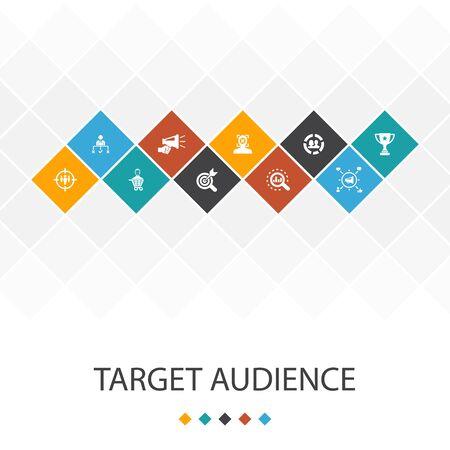 Zielgruppe trendige UI-Vorlage Infografiken Konzept.Verbraucher, Demografie, Nische, Symbole