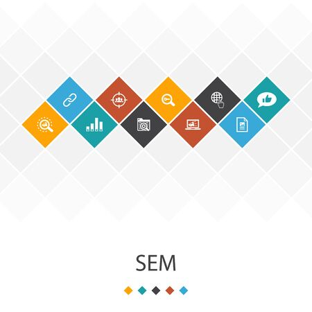 SEM trendy UI template infographics concept.Search engine, Digital marketing, Content, icons