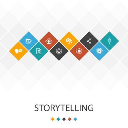 storytelling trendy UI template infographics concept.content, viral, blog, icons