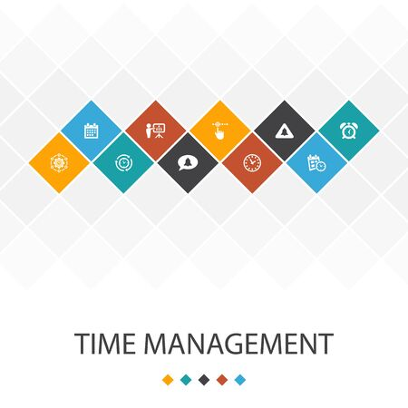Time Management trendy UI template infographics concept. efficiency, reminder, calendar, icons Stockfoto - 130224118