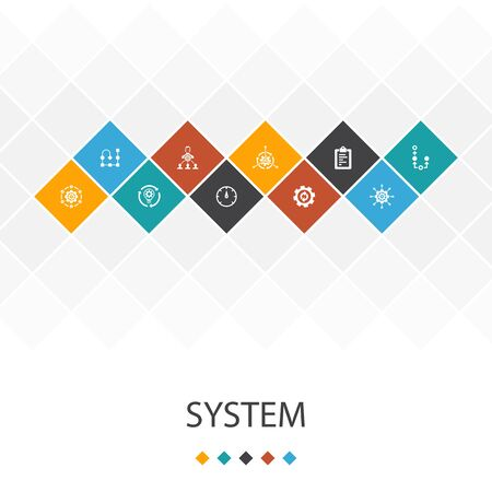 system trendy UI template infographics concept.management, processing, plan, icons
