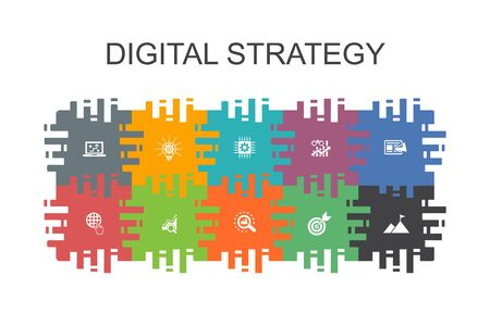 digital strategy cartoon template with flat elements. Contains such icons as internet, SEO, content marketing, mission