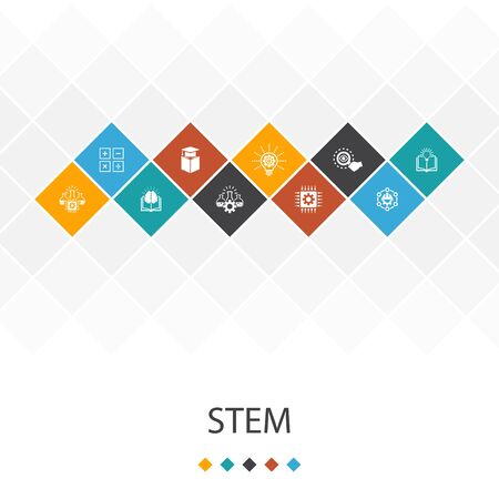 STEM trendy UI template infographics concept.science, technology, engineering, icons