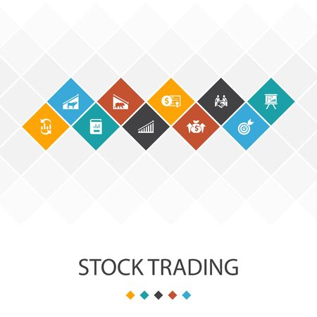 stock trading trendy UI template infographics concept.bull market, bear market, annual report, icons Illustration