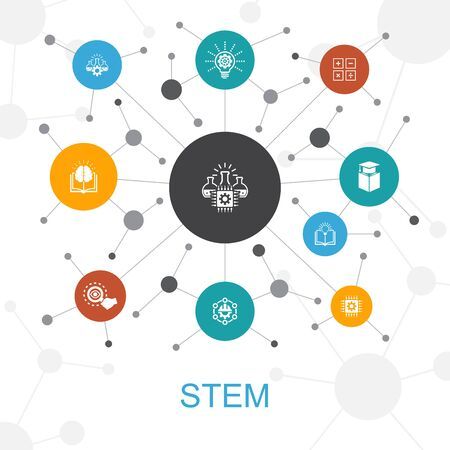 STEM trendy web concept with icons. Contains such icons as science, technology, engineering Illustration