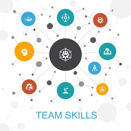team skills trendy web concept with icons. Contains such icons as Collaboration, cooperation, teamwork