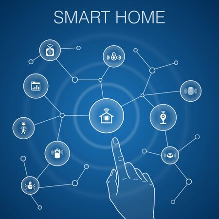 Smart home concept, blue background.motion sensor, dashboard, smart assistant, robot vacuum icons Ilustração