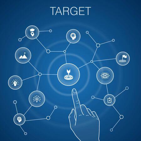 target concept, blue background.big idea, task, goal, patience Illustration