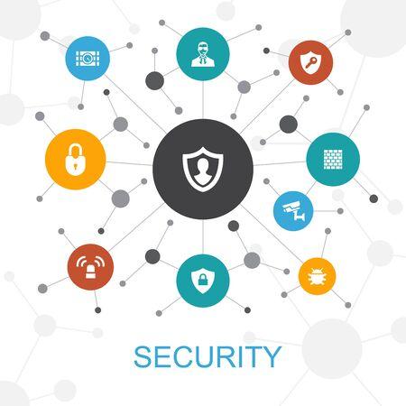 Veiligheid trendy webconcept met pictogrammen. Bevat pictogrammen als bescherming, beveiligingscamera, sleutel Vector Illustratie