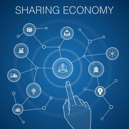Sharing economy concept, blue background.coworking, car sharing, Crowdfunding, innovation icons