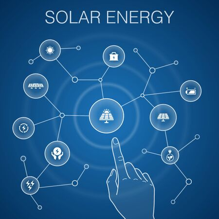 Solar energy concept, blue background.Sun, battery, renewable energy, clean energy icons