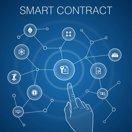 Smart Contract concept, blue background.blockchain, transaction, decentralization, fintech icons