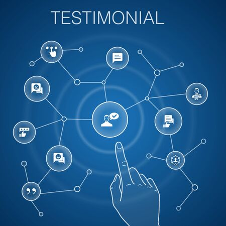 testimonial concept, blue background.feedback, recommendation, review, icons Ilustração