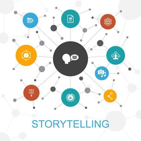 storytelling trendy web concept with icons. Contains such icons as content, viral, blog Ilustração