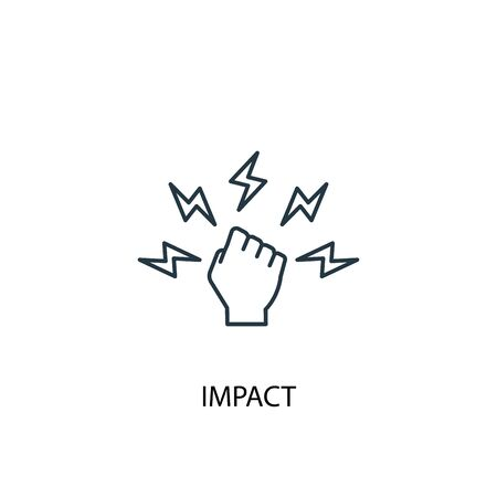 icona della linea del concetto di impatto. Illustrazione semplice dell'elemento. disegno di simbolo di contorno del concetto di impatto. Può essere utilizzato per web e mobile
