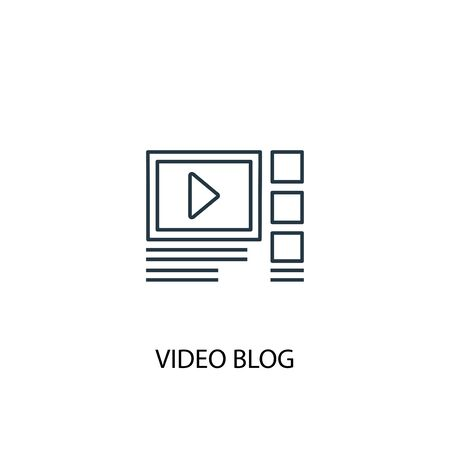 video blog concept line icon. Simple element illustration. video blog concept outline symbol design. Can be used for web and mobile