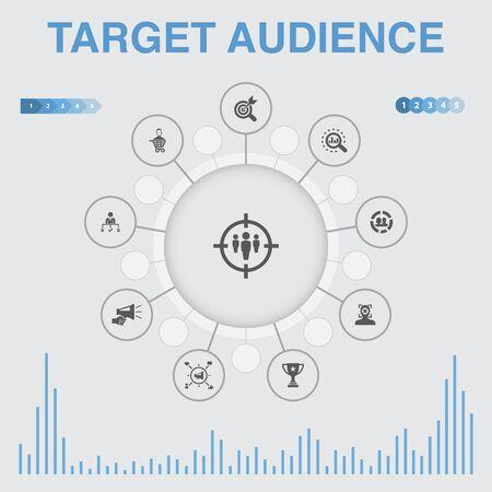 infografía de público objetivo con iconos. Contiene iconos como consumidor, demografía, nicho