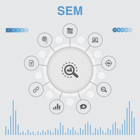 SEM infographic with icons. Contains such icons as Search engine, Digital marketing, Content Ilustração