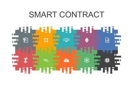 Smart Contract cartoon template with flat elements. Contains such icons as blockchain, transaction, decentralization