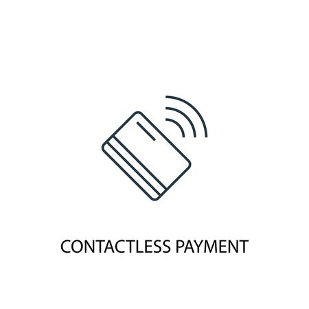 contactless payment concept line icon. Simple element illustration. contactless payment concept outline symbol design. Can be used for web and mobile Banco de Imagens - 130223886