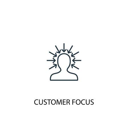 icône de ligne concept focus client. Illustration d'élément simple. conception de symbole de contour de concept d'orientation client. Peut être utilisé pour le Web et le mobile