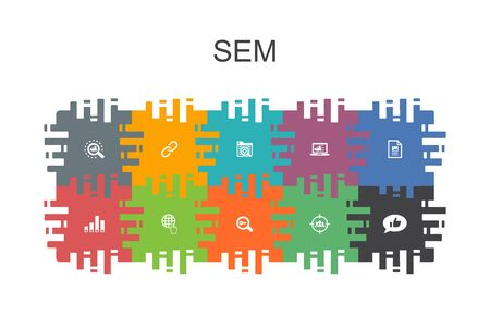 SEM cartoon template with flat elements. Contains such icons as Search engine, Digital marketing, Content Ilustração