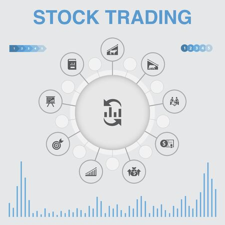 stock trading infographic with icons. Contains such icons as bull market, bear market, annual report