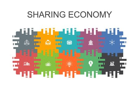 Sharing economy cartoon template with flat elements. Contains such icons as coworking, car sharing, Crowdfunding Stock Illustratie