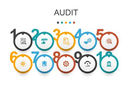 audit Infographic design template.review, standard, examine, process simple icons Illusztráció