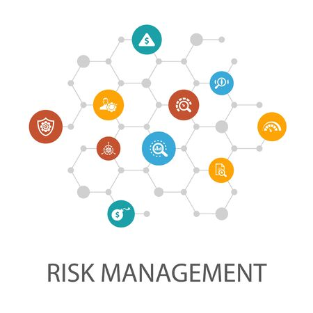 risk management presentation template, cover layout and infographics. control, identify, Level of Risk, analyze Çizim