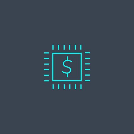 fintech concept blue line icon. Simple thin element on dark background. fin-tech concept outline symbol design. Can be used for web and mobile UI