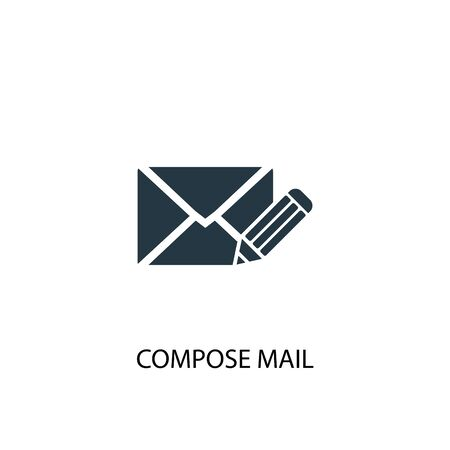 compose mail icon. Simple element illustration. compose mail concept symbol design. Can be used for web