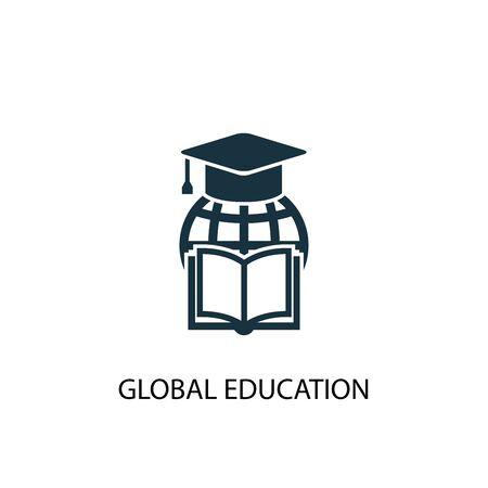 icono de educación global. Ilustración de elemento simple. diseño de símbolo de concepto de educación global. Puede usarse para web