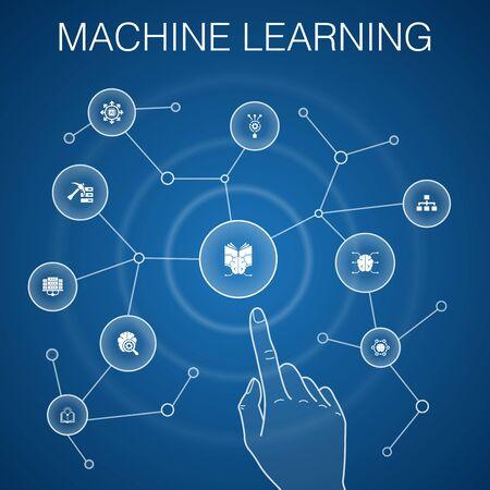 Concetto di apprendimento automatico, sfondo blu con icone semplici Vettoriali