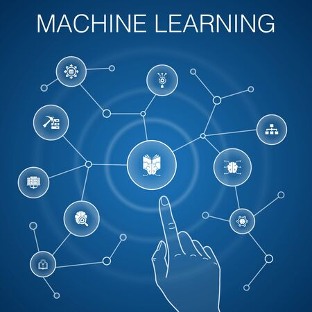 Machine learning concept, blue background with simple icons Stock Illustratie