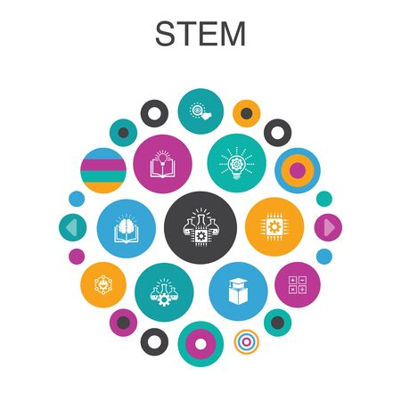 STEM Infographic 10 option template. science, technology, engineering simple elements