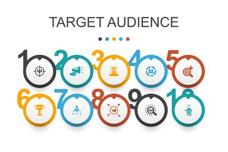 target audience Infographic design template. consumer, demographics, niche, promotion simple icons Çizim
