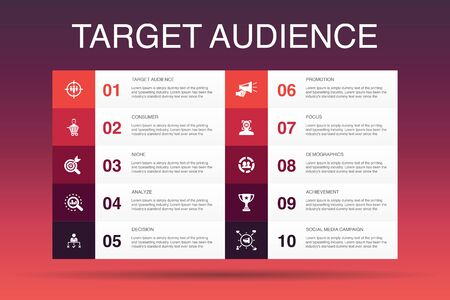 target audience Infographic 10 option template.consumer, demographics, niche, promotion icons
