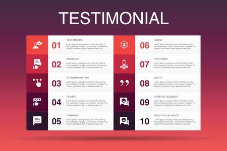 testimonial Infographic 10 opción template.feedback, recomendación, revisión, iconos de comentarios