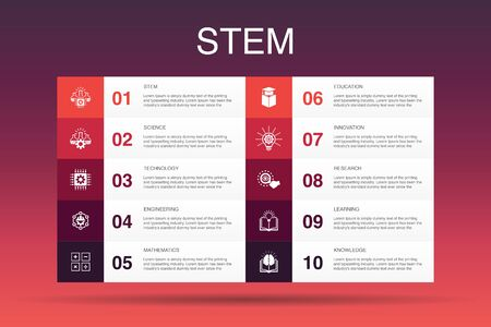 STEM Infographic 10 option template.science, technology, engineering, mathematics icons Illustration