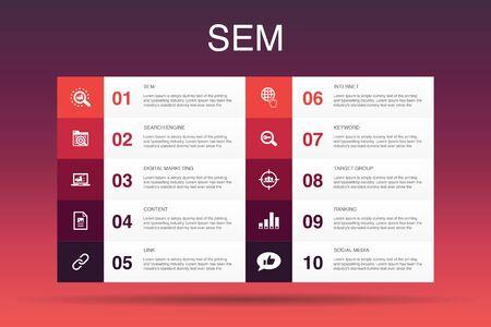 Modèle d'option SEM Infographie 10. Moteur de recherche, marketing numérique, contenu, icônes Internet