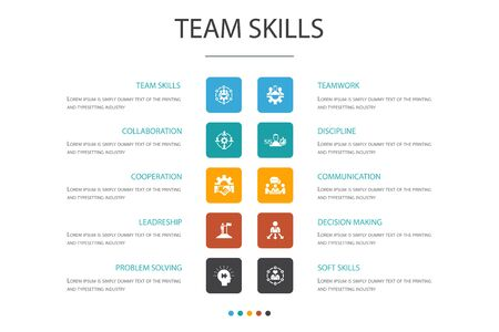 team skills Infographic 10 option concept.Collaboration, cooperation, teamwork, communication icons
