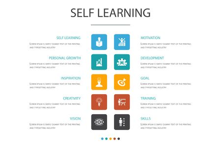 Self learning Infographic 10 option concept.personal growth, inspiration, creativity, development icons Illustration