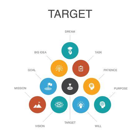 target Infografica concetto di 10 passaggi. grande idea, compito, obiettivo, icone di pazienza