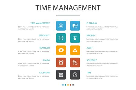 Time Management Infographic 10 option concept.efficiency, reminder, calendar, planning icons
