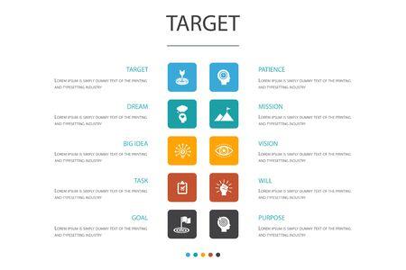Concepto de opción de infografía de destino 10 gran idea, tarea, objetivo, iconos de paciencia Ilustración de vector