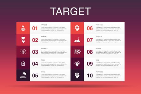 target Infographic 10 option template.big idea, task, goal, patience icons